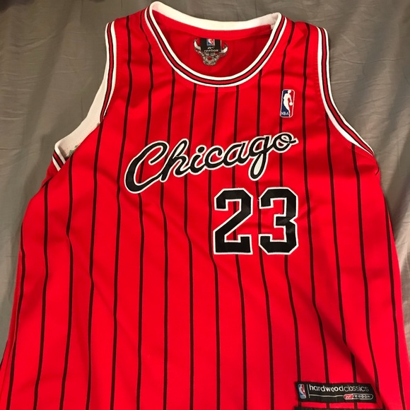 sneakers for cheap afcc8 3c9ce Chicago Bulls MJ 23 Black Pinstripe Jersey